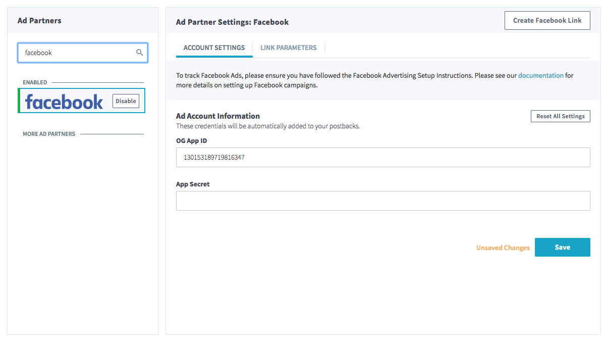 Find Facebook in Partner Manager