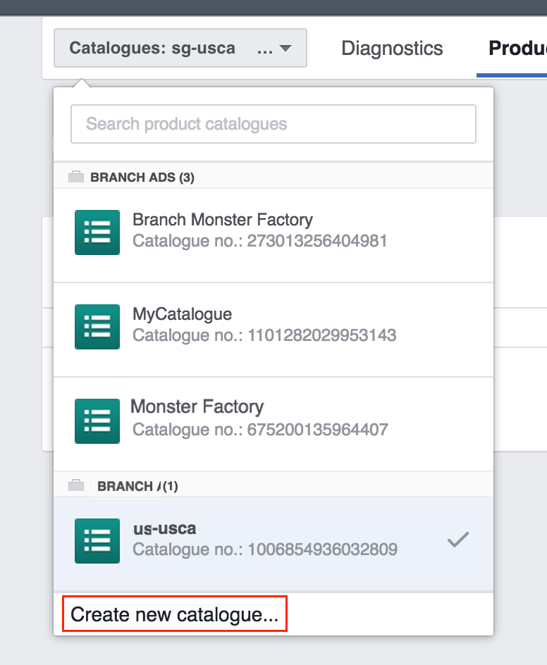 Facebook Create New Product Catalogue