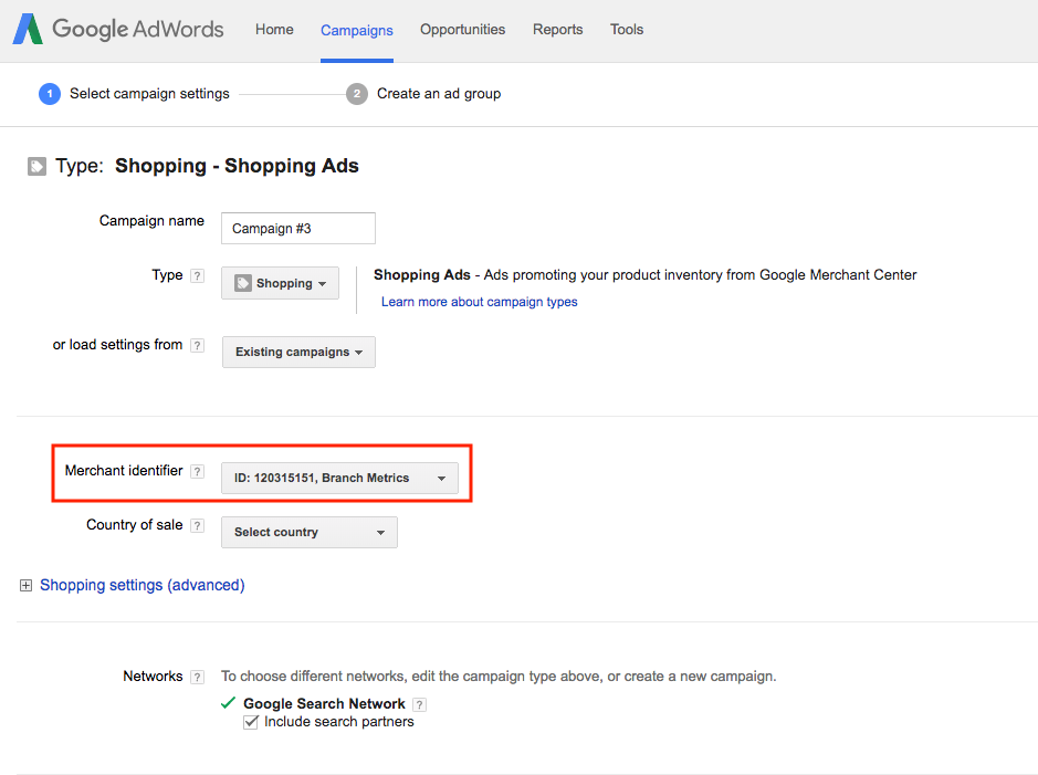 AdWords Merchant Identifier
